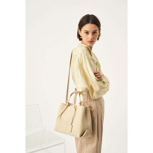 Oroton Margot Medium Day Bag in Light Sand and Pebble Leather for female