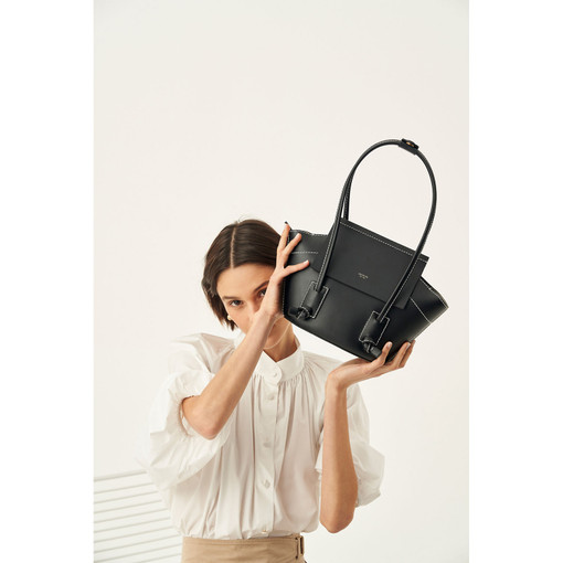 Oroton Klara Small Tote in Black and Smooth Leather for female