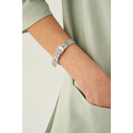 Oroton Freya Thin Bracelet in Silver and Stainless Chain With Ion Plating for female