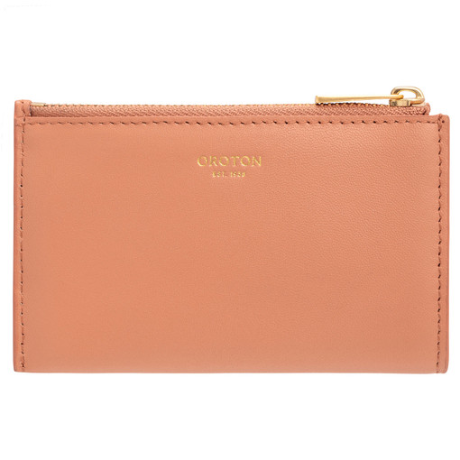 Oroton Lilia 4 Credit Card Zip Pouch in Treacle and Smooth Leather for female