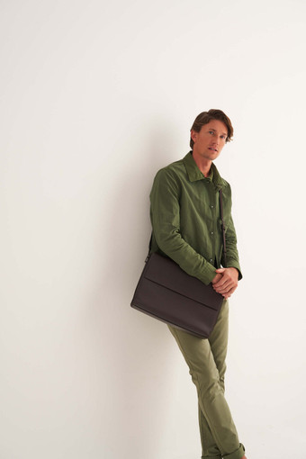 Oroton Ruben Laptop Bag in Hickory and Vachetta Leather for male