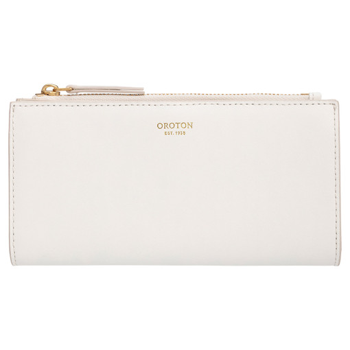Oroton Klara Slim Zip Wallet in White and Smooth Leather for female