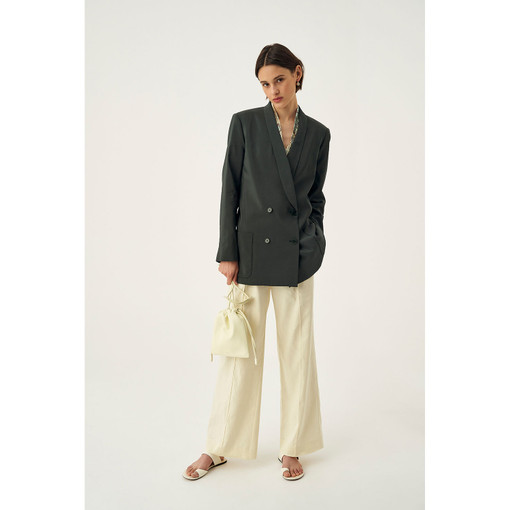 Oroton Soft Double Breasted Blazer in Ivy and 75% Viscose 25% Polyester for female
