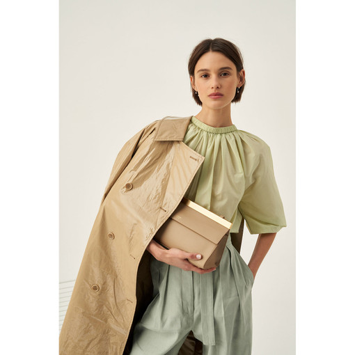 Oroton Gathered Popover in Chartreuse and 53% Nylon 47% Cotton for female