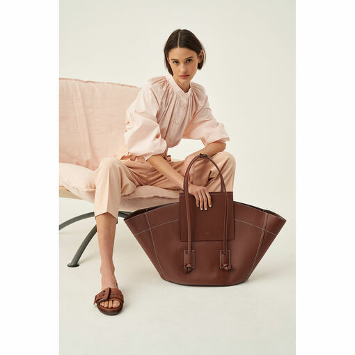 Oroton Cotton Gathered Shirt in Dusty Peach and 100% Cotton for female