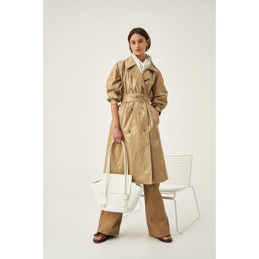 Oroton Coated Trench in Khaki and 100% PU Coating, Base Cloth 100% Cotton for female