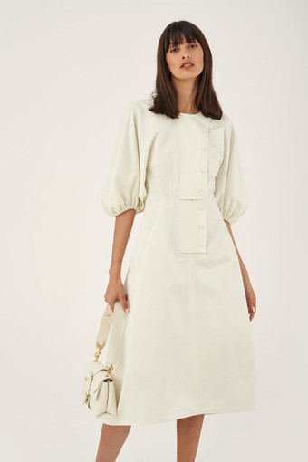Oroton Sculptured Sleeve Dress in Egg Shell and 70% Cotton 30% Linen for female