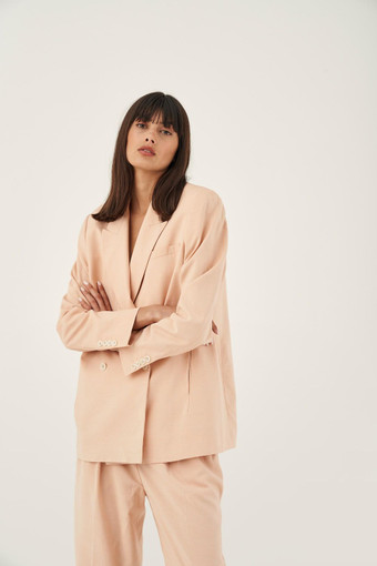 Oroton Double Breasted Blazer with Belt in Dusty Peach and 81% Viscose 17% Cotton 2% Elastane for female
