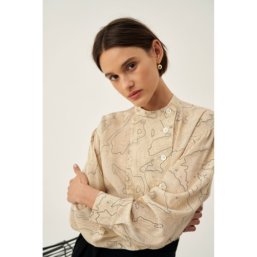 Oroton Silk Linear Map Print Blouse in Nougat and 100% Silk for female