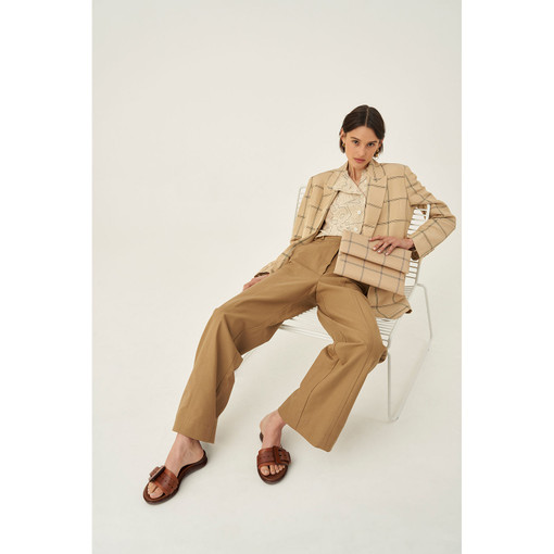 Oroton Utility Wide Leg Pant in Tobacco and 100% Cotton for female