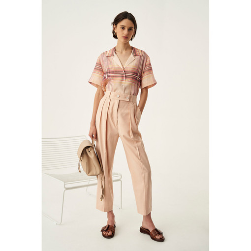 Oroton Pleat Front Pant in Dusty Peach and 81% Viscose 17% Cotton 2% Elastane for female