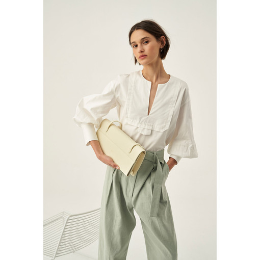 Oroton Cotton Full Sleeve Popover in Pure White and 100% Cotton for female