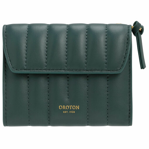 Oroton Fay Tri Fold Zip Wallet in Fern Green and Nappa Leather for female