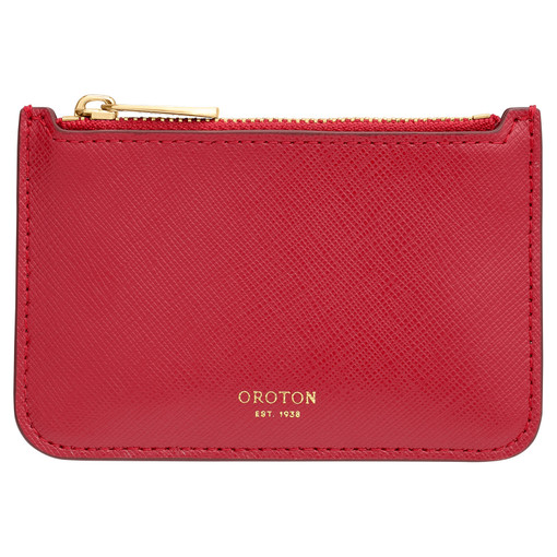 Oroton Harriet Credit Card Holder Pouch in Scarlet and Saffiano Leather for female