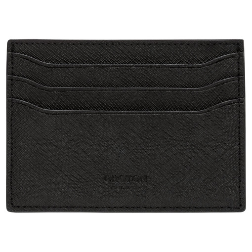Oroton Hugo 7 Credit Card Sleeve in Black and Saffiano Leather for male