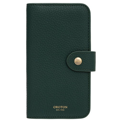 Oroton Lucy IPhone X 5 Credit Card Zip Wallet in Fern Green and Pebble Leather for female