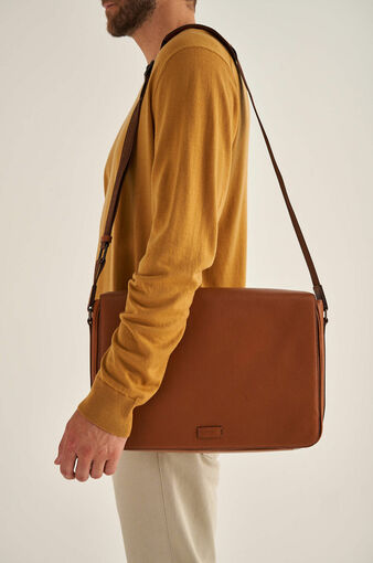 Oroton Harry Pebble EW Satchel in Cognac and Pebble Leather for male