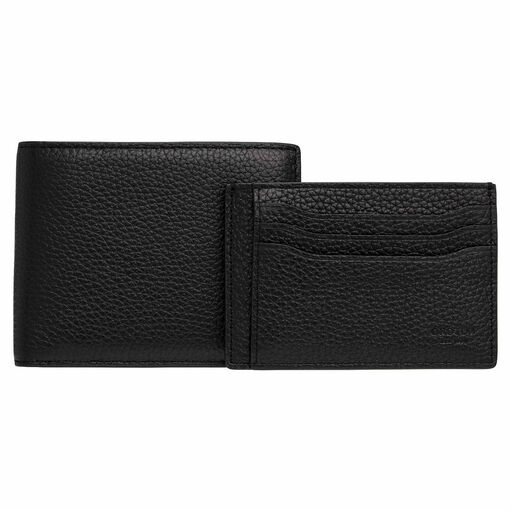 Oroton Harry Pebble 8 Credit Card Wallet And Credit Card Sleeve Set in Black and Pebble Leather for male