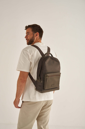 Oroton Otto Nylon Rounded Backpack in Dark Slate and Nylon Oxford With Faux Leather Backing/ Pebble Leather for male