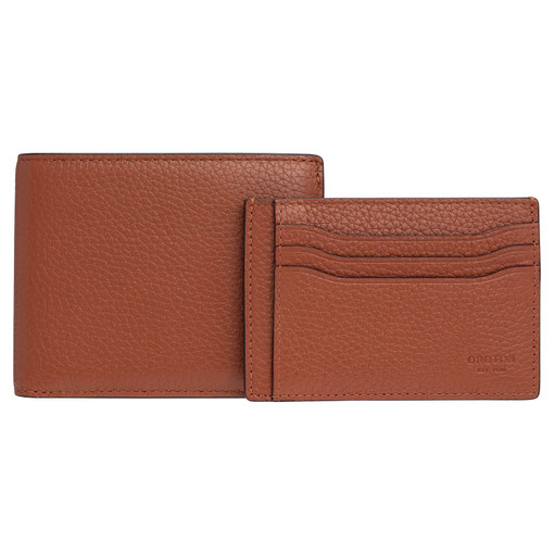 Oroton Harry Pebble 8 Credit Card Wallet And Credit Card Sleeve Set in Cognac and Pebble Leather for male