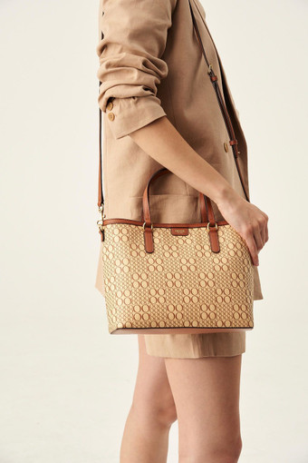 Oroton Harriet Mini Tote in Cognac Natural and Printed Paper Woven Straw/ Faux Leather Trims for female