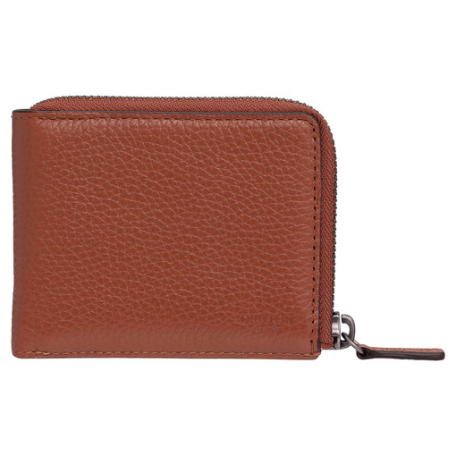 Oroton Harry Pebble 6 Credit Card Zip Wallet in Cognac and Pebble Leather for male