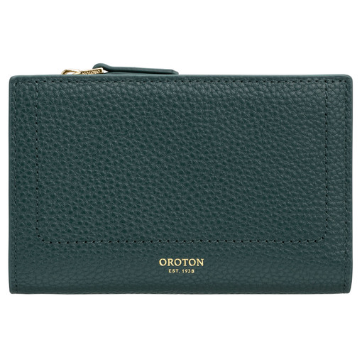 Oroton Lucy 12 Credit Card Zip Wallet in Fern Green and Pebble Leather for female