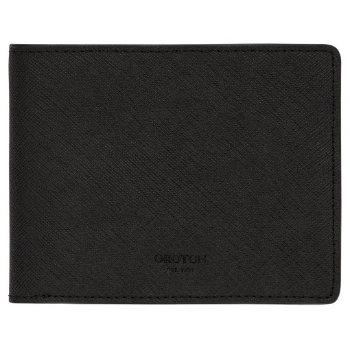 Oroton Hugo 8 Credit Card Zip Wallet in Black and Saffiano Leather for male