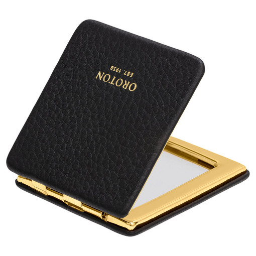 Oroton Lucy Square Mirror Compact in Black and Pebble Leather for female