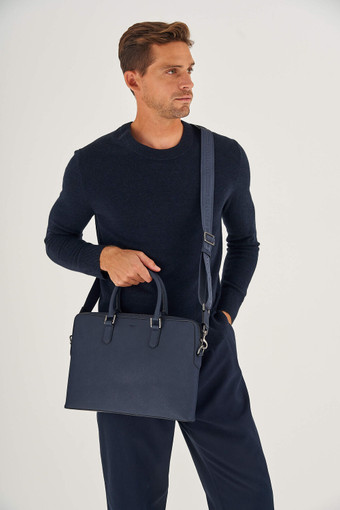 """Oroton Hugo 13"""" Slim Laptop Bag in Ink and Saffiano Leather for male"""