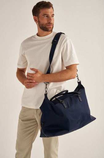 Oroton Otto Nylon Weekender in Ink and Nylon Oxford With Faux Leather Backing/ Pebble Leather for male