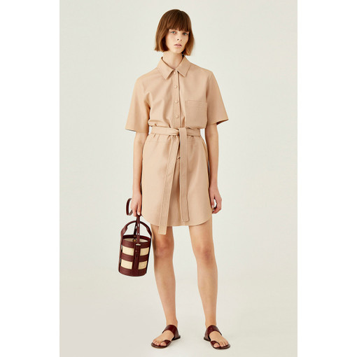 Oroton Leather Short Sleeve Shirt Dress in Nougat and 100% Leather, Lamb for female