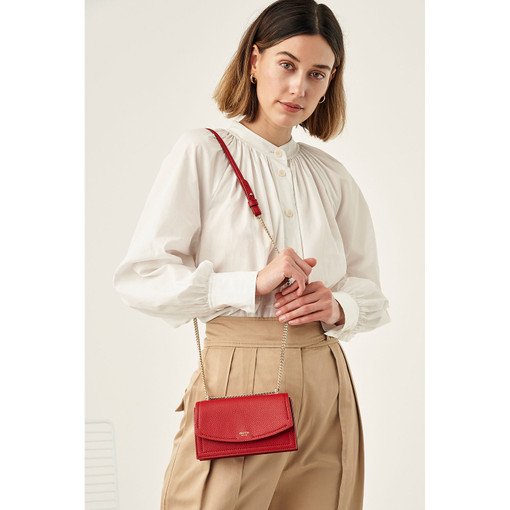 Oroton Atlas Small Clutch in Scarlet and Pebble Leather for female