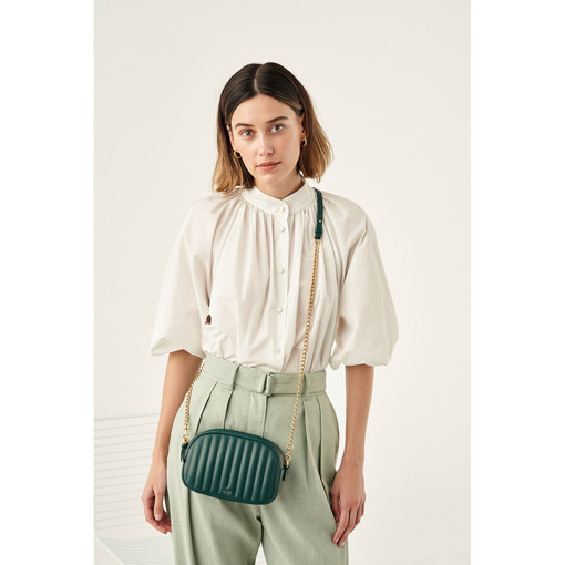 Oroton Fay Zip Around Crossbody in Fern Green and Nappa Leather for female
