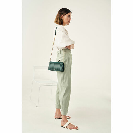 Oroton Fay Medium Chain Crossbody in Fern Green and Nappa Leather for female