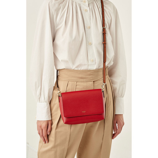 Oroton Harriet Crossbody in Scarlet and Saffiano Leather for female