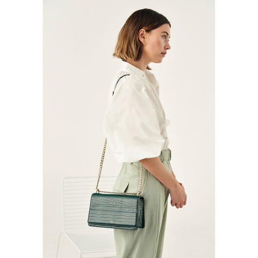 Oroton Forte Slim Clutch Bag in Fern Green and Two Tone Croco for female