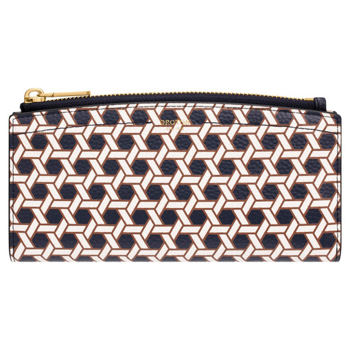 Oroton Atlas 12 Credit Card Zip Wallet in Midnight Blue Print and Printed Pebble Leather for female