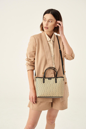 Oroton Harriet Mini Tote in Black Natural and Printed Paper Woven Straw/ Faux Leather Trims for female