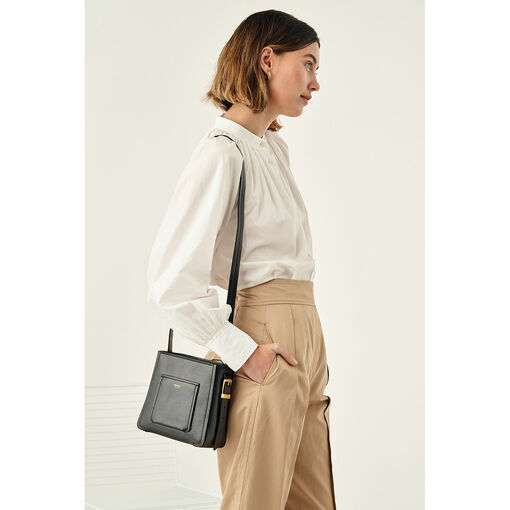 Oroton Phoebe Small Bucket Bag in Black and Saffiano Leather for female