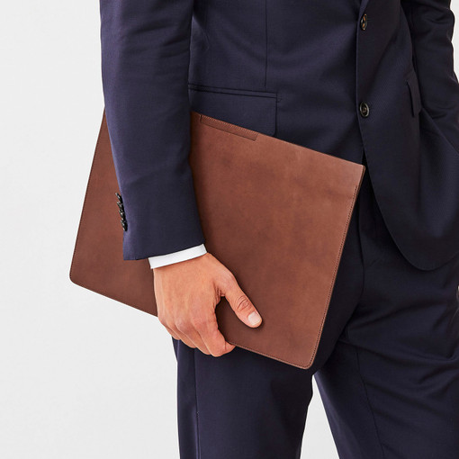 """Oroton Rhodes 15"""" Laptop Sleeve in Espresso and Casual Full Grain Leather for male"""