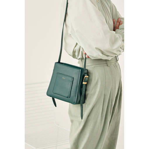 Oroton Phoebe Small Bucket Bag in Fern Green and Saffiano Leather for female