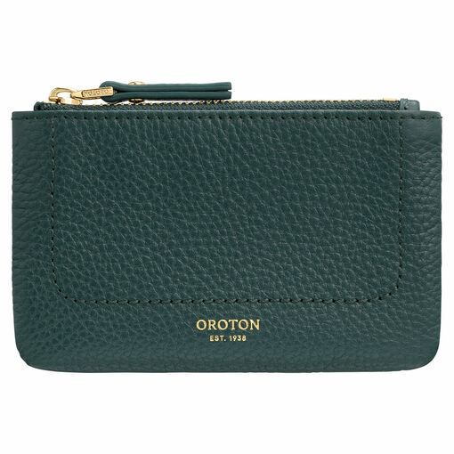 Oroton Lucy Coin Pouch in Fern Green and Pebble Leather for female