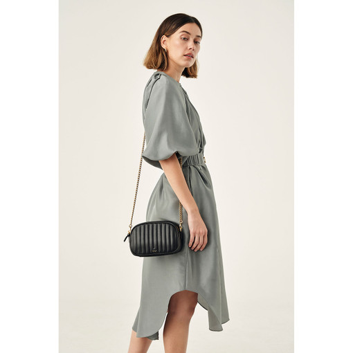 Oroton Fay Zip Around Crossbody in Black and Nappa Leather for female