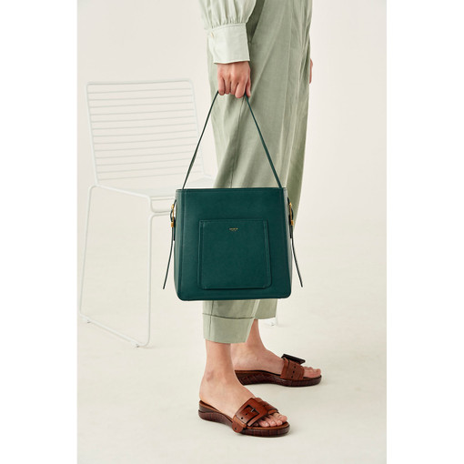 Oroton Phoebe Bucket Bag in Fern Green and Saffiano Leather for female