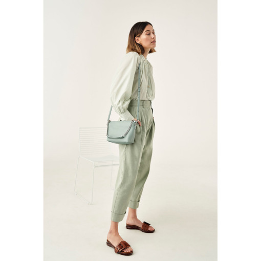 Oroton Nina Crossbody in Silver Sage and Pebble Leather for female