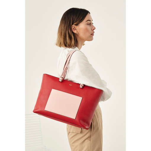 Oroton Atlas Shopper Tote in Scarlet/Pink Musk and Pebble Leather for female