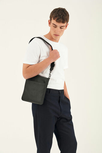 Oroton Hugo Messenger Bag in Black and Saffiano Leather for male