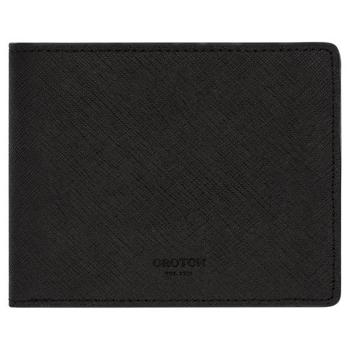 Oroton Hugo 12 Credit Card Zip Wallet in Black and Saffiano Leather for male