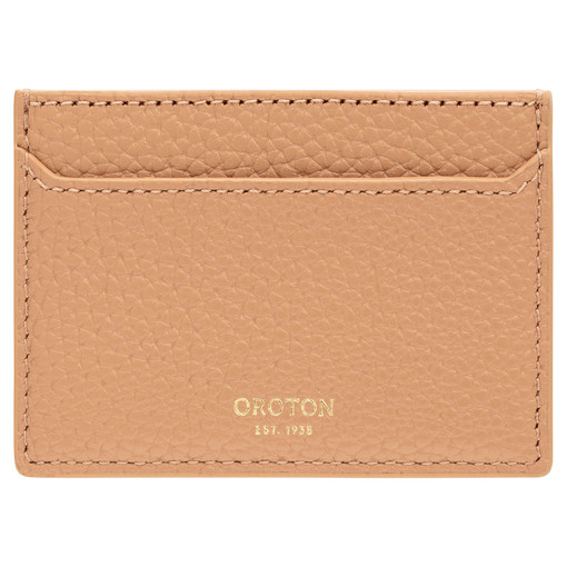 Oroton Anna Credit Card Sleeve in Biscotti and Pebble Leather for female